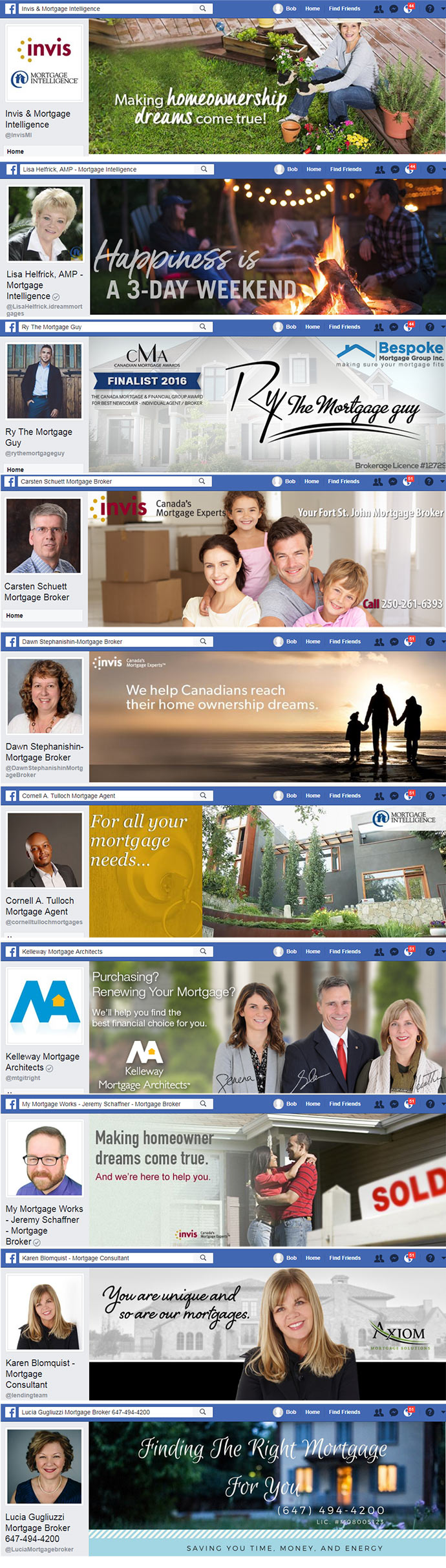 Facebook cover images for Mortgage Brokers