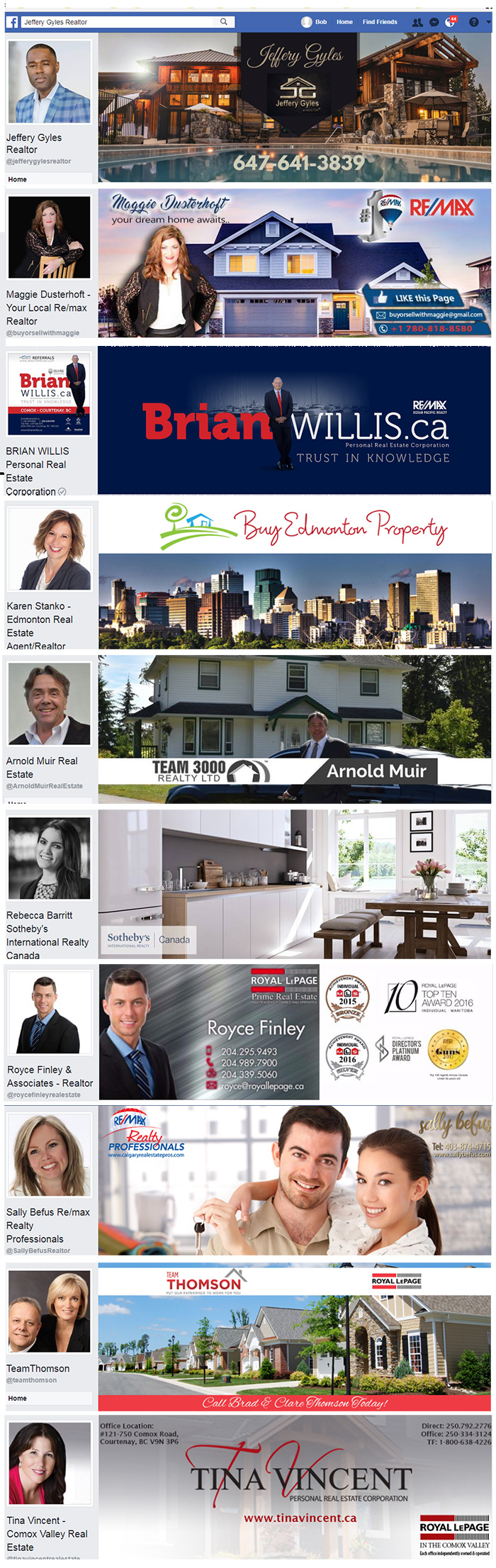 Facebook cover examples for Canadian Real Estate Agents