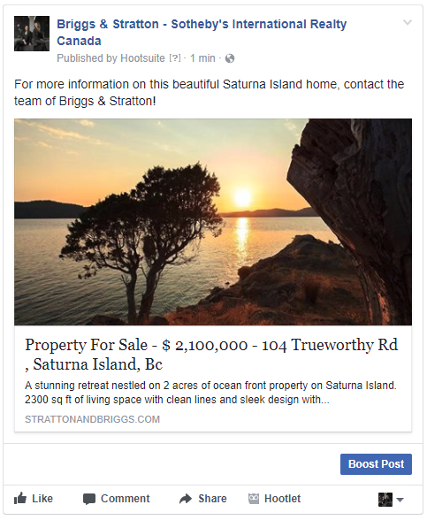 Facebook post of real estate listing