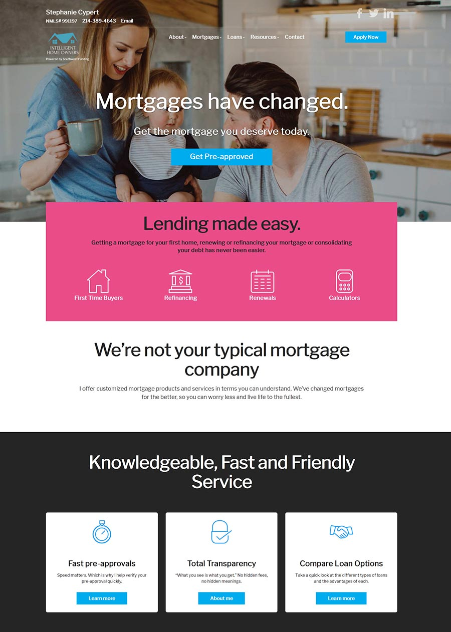 Stephanie Cypert - Mortgage Loan Officer Website design