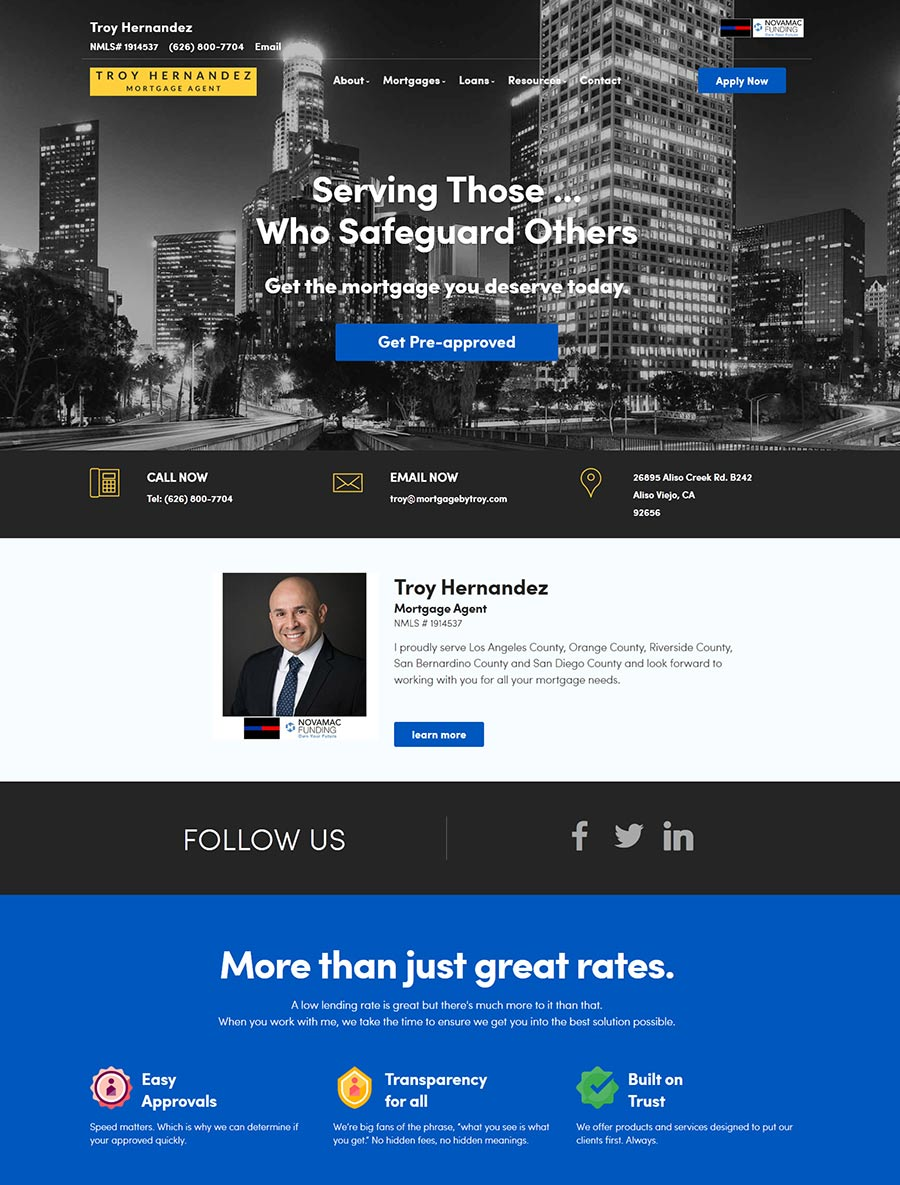 Troy Hernandez - Mortgage Loan Officer Website design